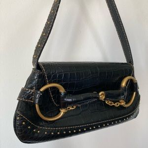 Vintage Bags - Vintage Black Faux Alligator Purse